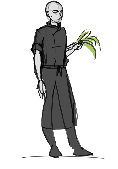 A draw interpretation of Simon standing holding a bunch of bananas